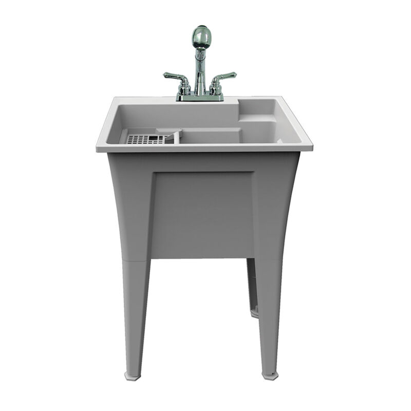 Rugged Tub Garage and Laundry Sink with Pull-Out Faucet - 24in.W, Granite/Gray,