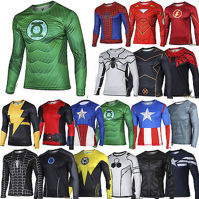 Men Boys Comics Superhero Costume T-Shirt Long Sleeve Sports Cycling Shirts Tops