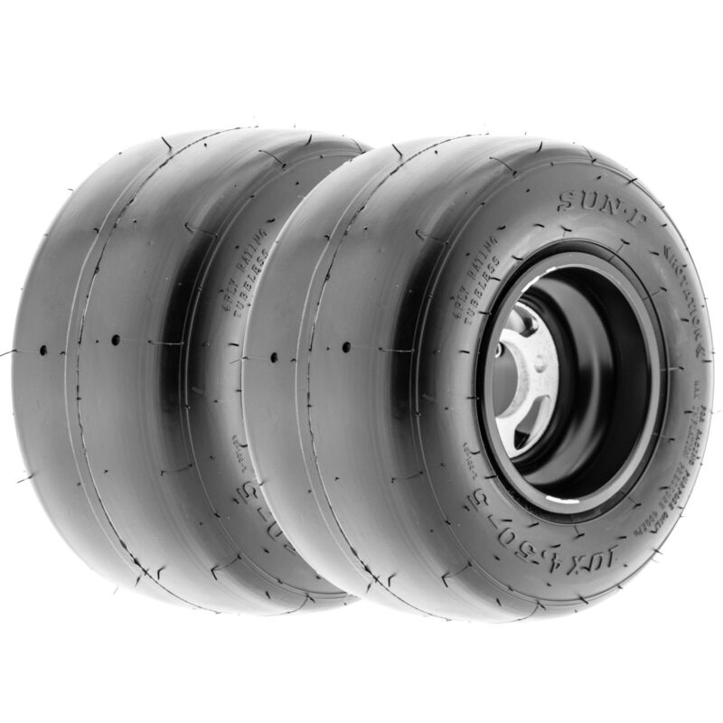 SunF 10x4.5.00-5 Go Kart Slick Tires 10x4.5.00x5 Race  4 PR K001  [Set of 2]