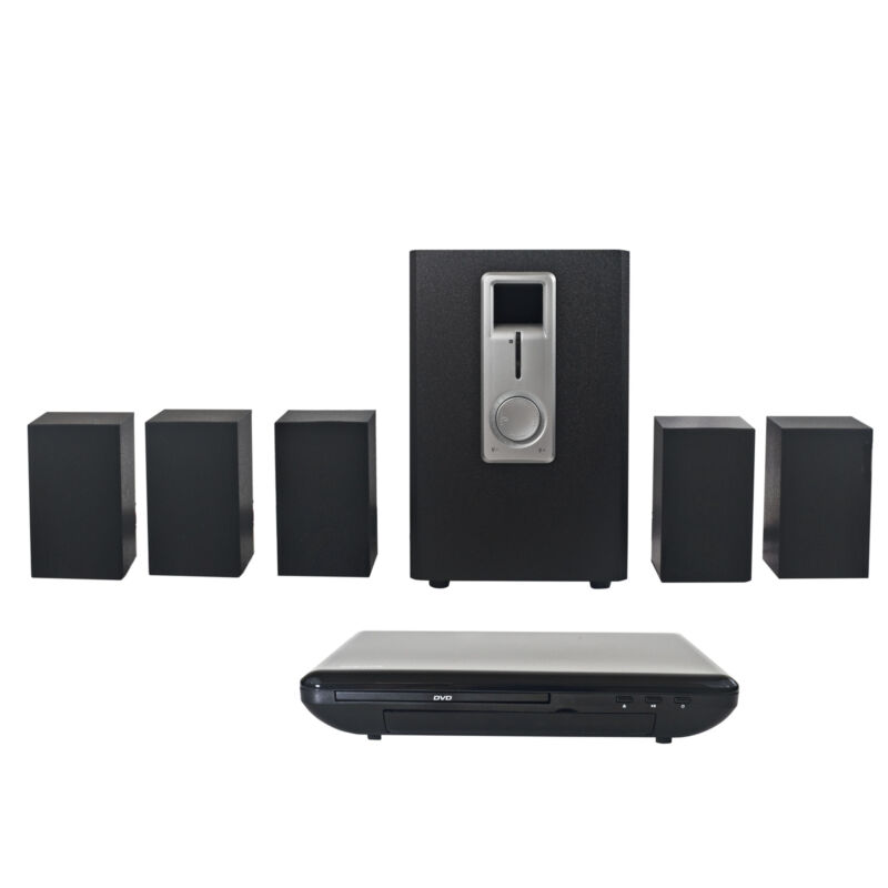Craig CHT755 Home Theater 5.1 Channel Audio Output System w/ DVD Player in Black