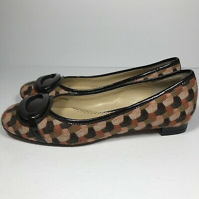 Oscar De La Renta Vero Cuoio O-Ballari Brown 6 1/2 M Womans Flats