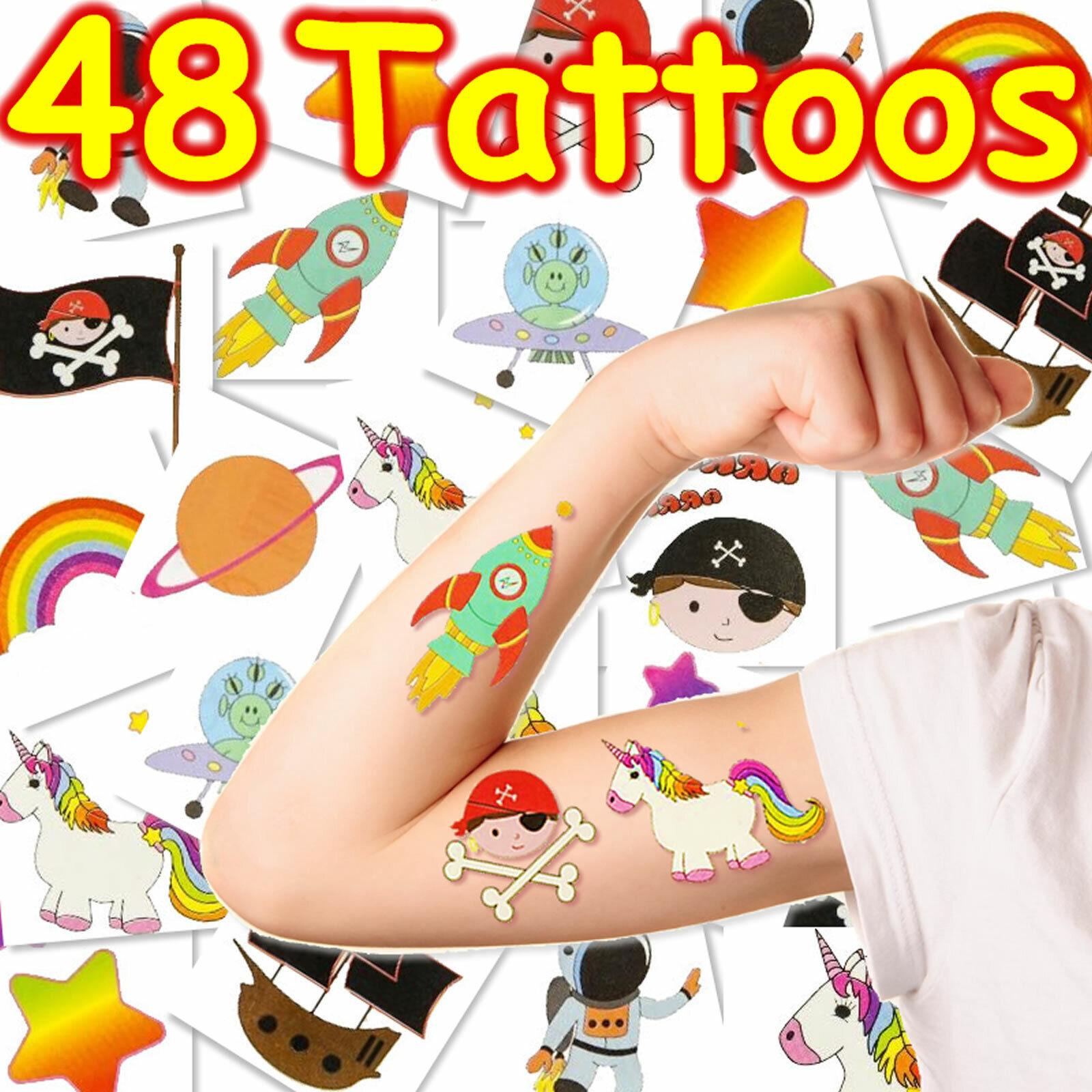XXL KINDER TATTOO SET - 48 Tattoos Kindergeburtstag Kindertattoos Mitgebsel
