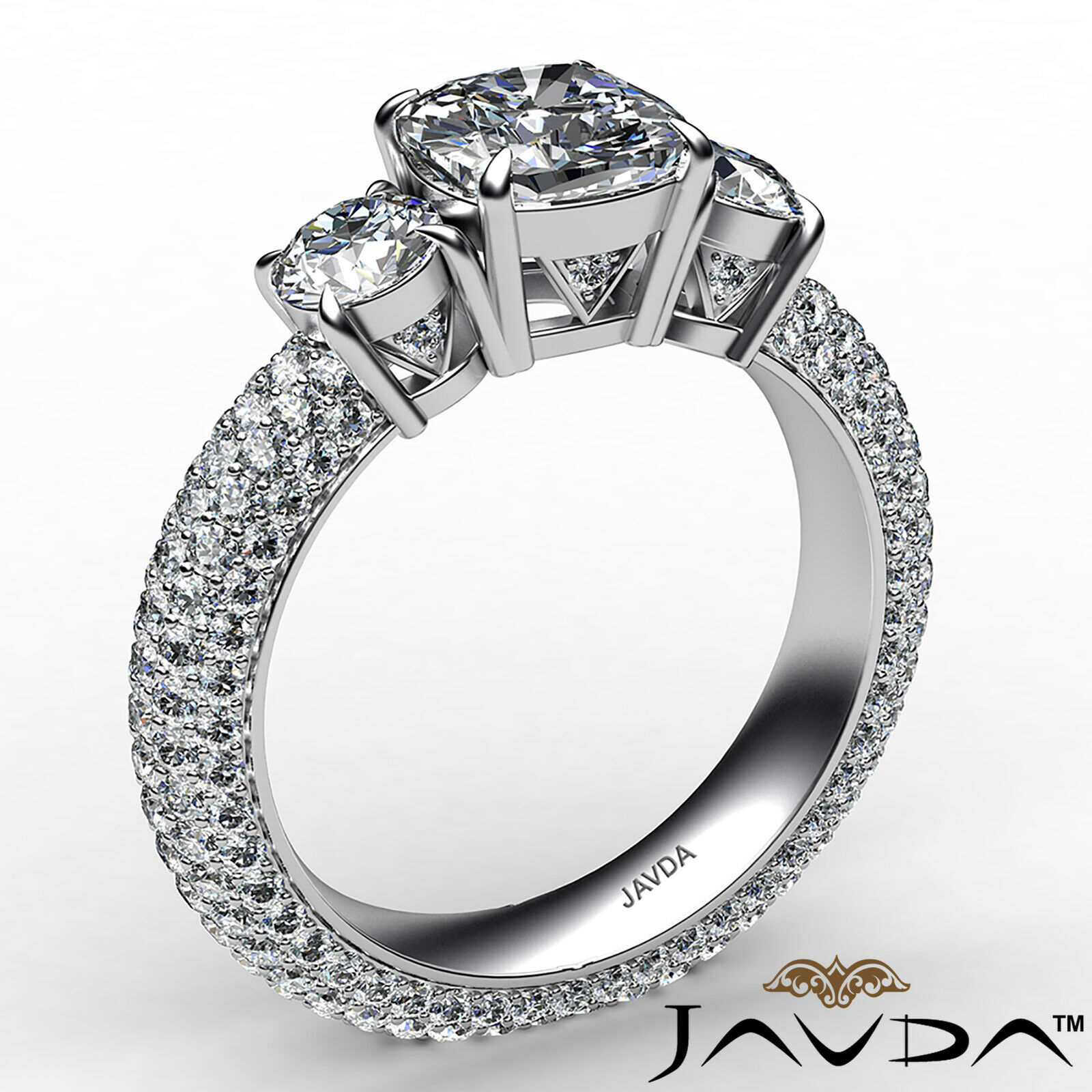 Cushion Diamond Engagement Ring Certified by GIA, G Color & SI1 clarity 3.44 ctw 3
