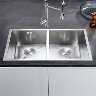kitchen sink 770 x 450mm double bowl laundry undermount topmount - Kitchen Sinks Sydney
