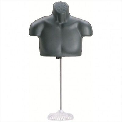 New Male Torso Mannequin Form - Black W Acrylic Base
