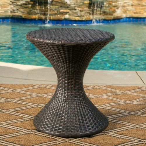 Frances Outdoor 16-inch Multi-brown Wicker Hourglass Side Table Home & Garden
