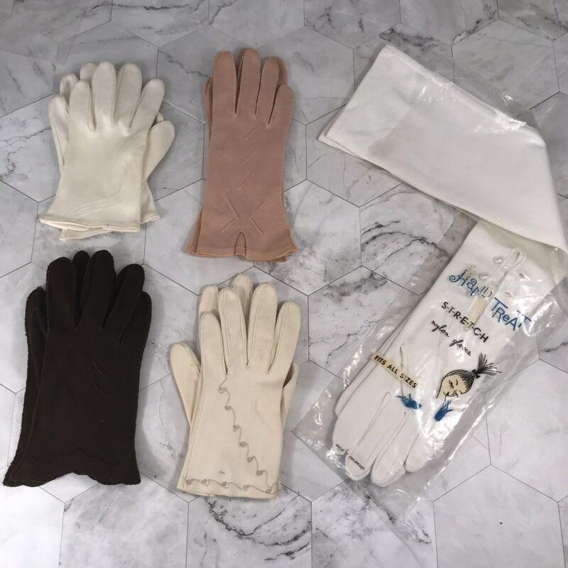 VTG Gloves Lot 5 Pair Van Raalte Etc Sz 6 S White Pink Brown Opera Long Pearls