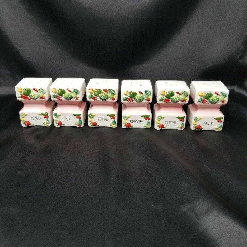Vintage 1955 GZ Lefton Ceramic Spice Jars - Set of 6 Pastel Chalk Raised Relief