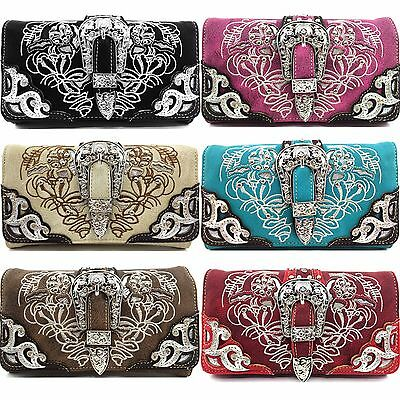 Western Cowgirl Rhinestone Buckle Cross Body Wristlet Wallet With Strap (Cowgirl Body)