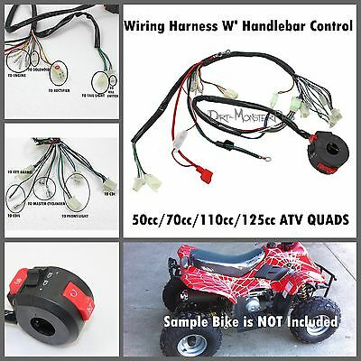 Wiring Harness Loom + Handle Bar Control 50/70/90/110/125cc ATV Quad Bikes Buggy