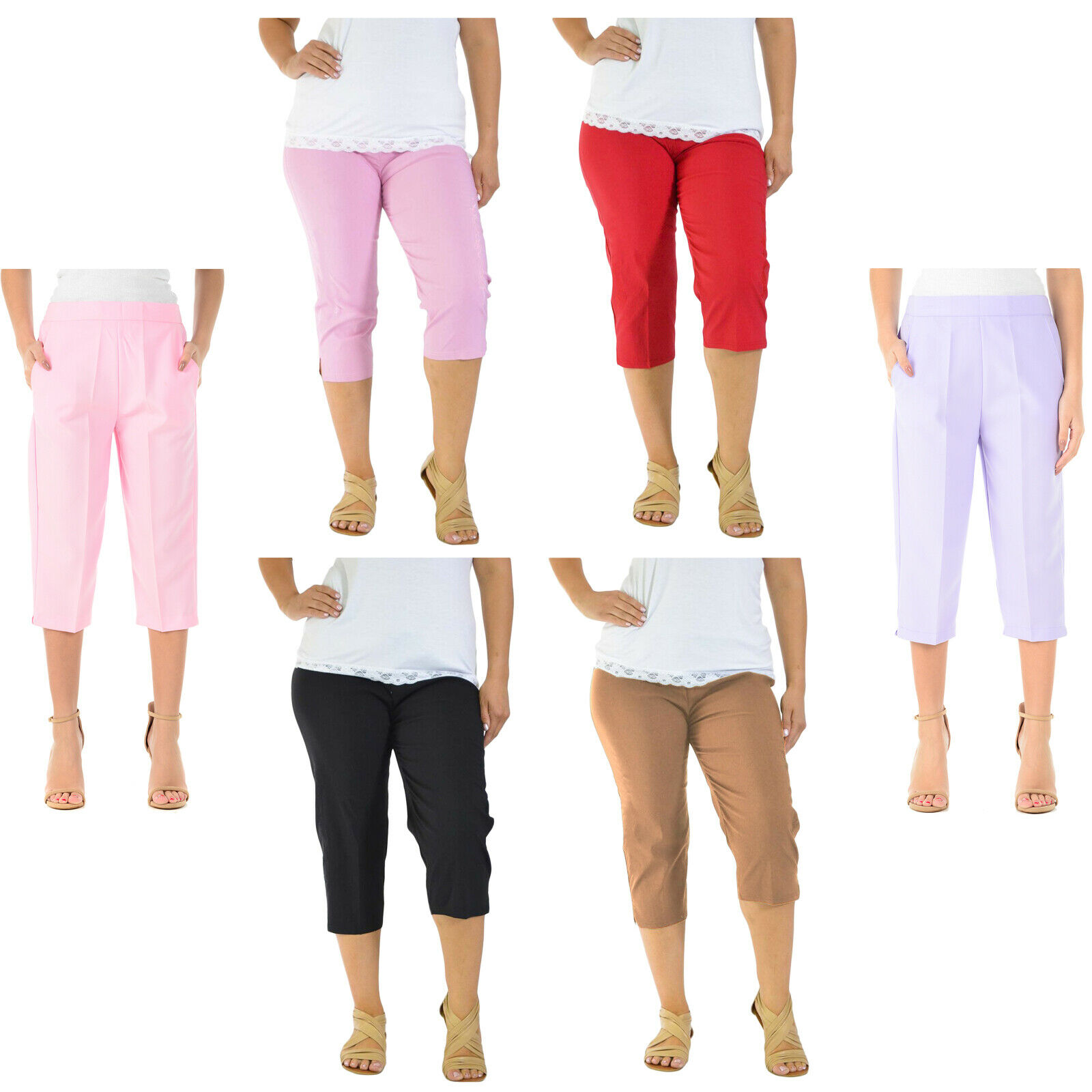 Sale....Ladies comfort stretch 3//4 length cropped trousers elasticated waistband