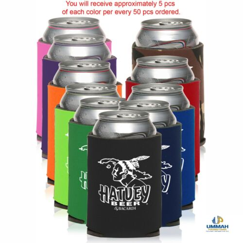 100 Personalized Assorted Premium 4mm Collapsible Can Coolers Printed w/ Logo