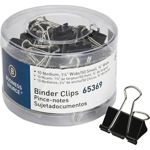 Business Source 65369 Small/Medium Binder Clips Set, 60/Pack - Black
