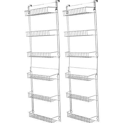 Over Door Kitchen Storage Basket Rack 5 Foot  6 Shelves Pantry Closet Set of 2