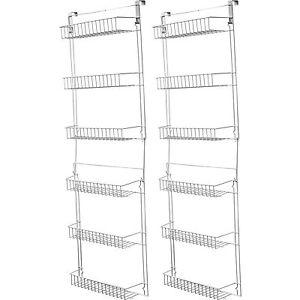 Superior Over Door Kitchen Storage Basket Rack 5 Foot 6 Shelves Pantry Closet Set Of  2