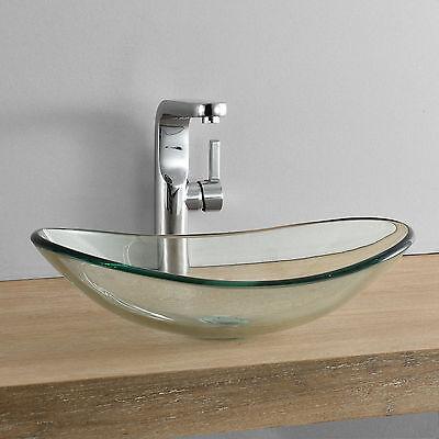 [neu.haus]® Waschbecken oval Waschschale 47x31cm Glas Waschtisch Aufsatzbecken