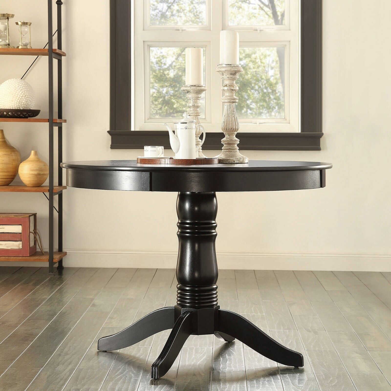 "Pedestal Dining Table Round Cottage Black Solid Wood 42"" Sea"