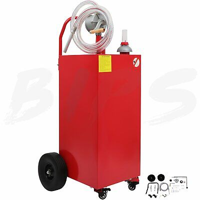 30 Gallon Gas Fuel Diesel Caddy Transfer Tank Rotary Pump Oil Container 8ft Hose