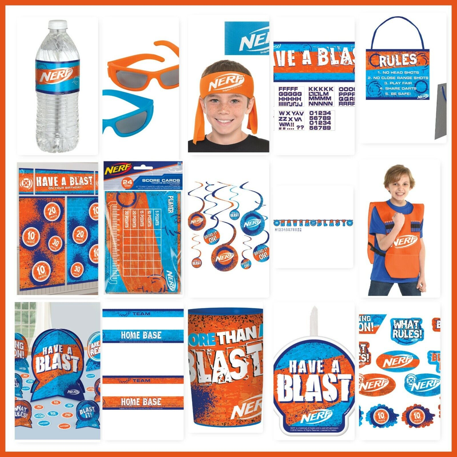 nerf birthday party decorations wall backdrop cutouts