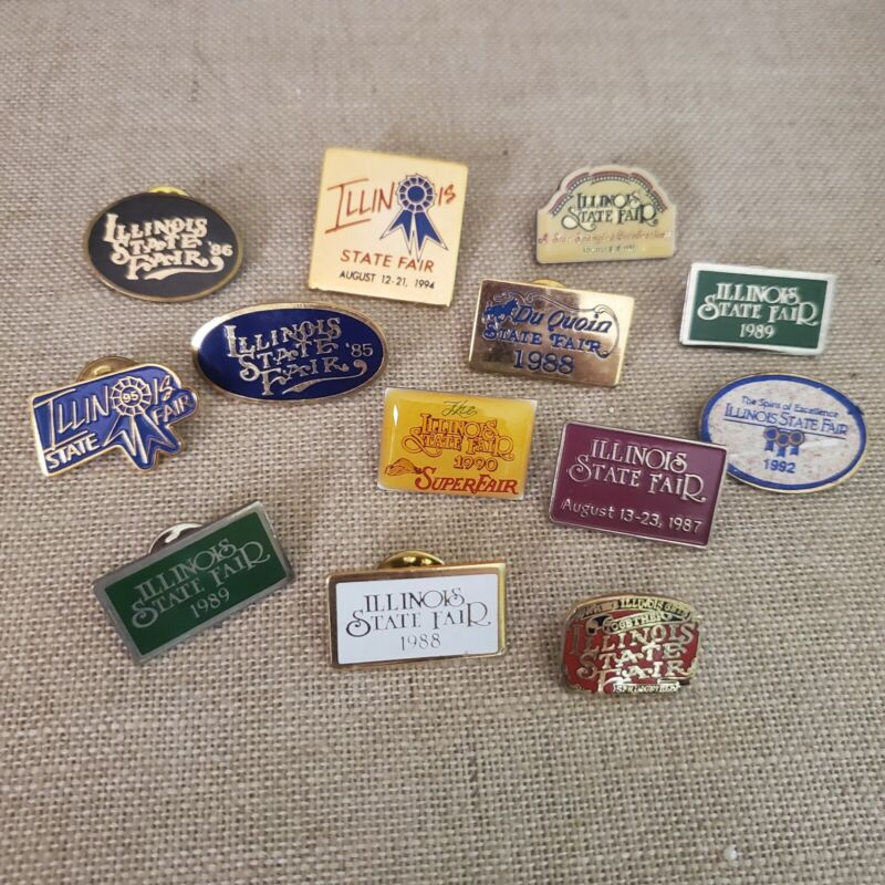 Illinois State Fair Pins 1980s 1990s Lot Of 13