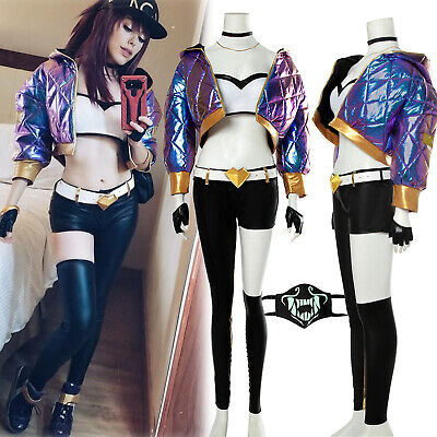 LOL KDA Akali Outfit League of Legends Cosplay Costume Hooded Jacket Pant - Akali Cosplay Kostüm