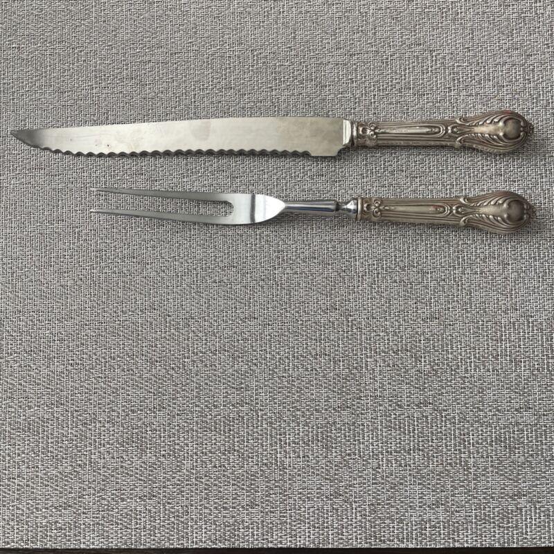Vintage Sheffield Sterling Silver Carving Fork and Knife Ornate
