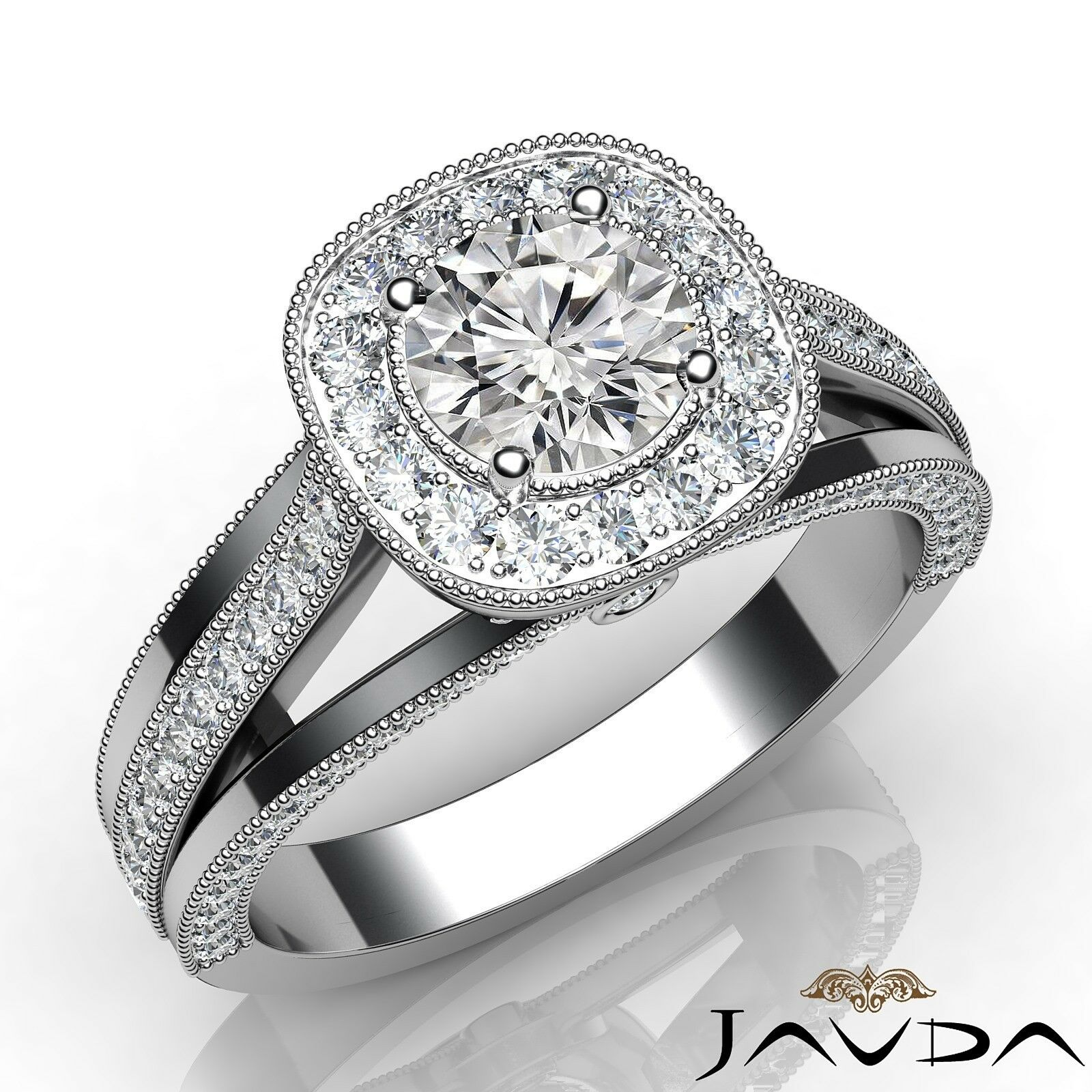 1.4ctw Milgrain Edge Round Diamond Engagement Ring GIA G-VS2 White Gold Women