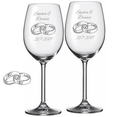 Graviertes Wein-glas (2 Leonardo Weingläser mit Gravur Ringe Name Datum graviert Hochzeit Weinglas)
