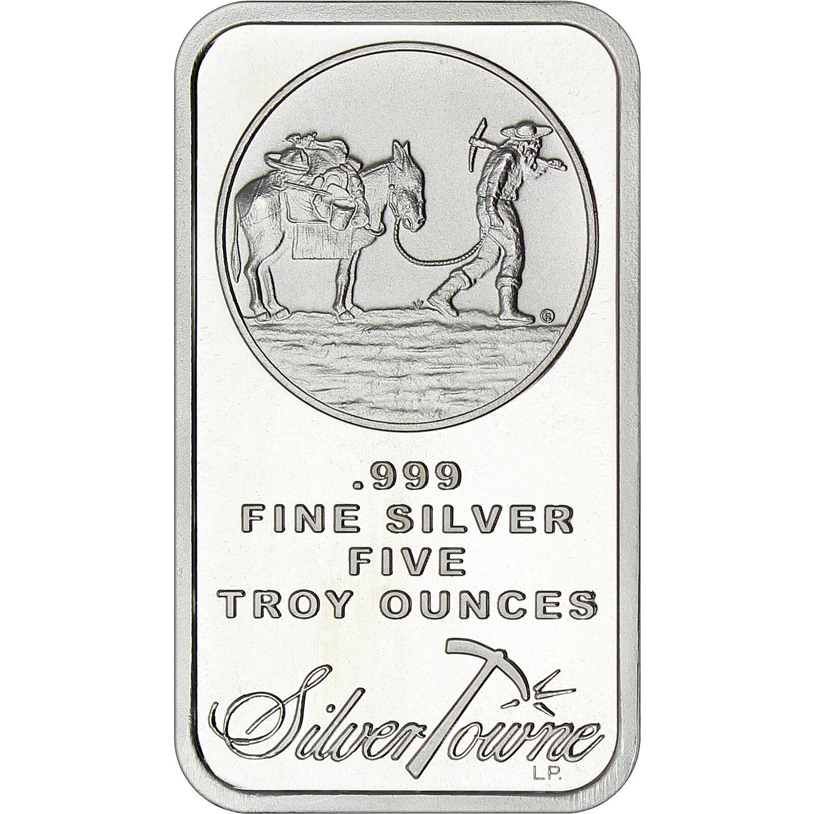SilverTowne Logo 5oz .999 Fine Silver Bar