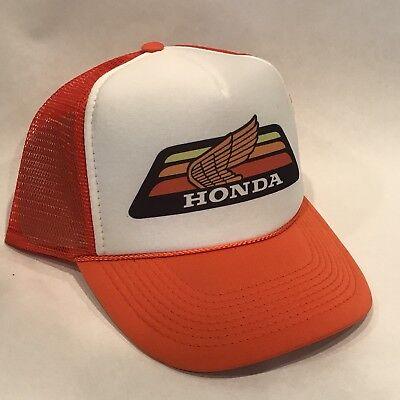 - Honda Motorcycle Trucker Hat Race Vintage 80s Mesh Snapback Orange Gold Wing ATC