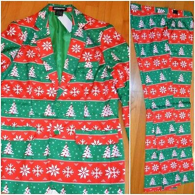 NWT SUITMEISTER 3 PC SET CHRISTMAS TREE SUIT UGLY CHRISTMAS HOLIDAYS MEN'S M-2XL ()