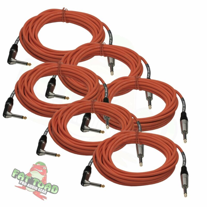 FAT TOAD Guitar Cables Right Angle 20FT ¼ Jack 6 Cords Instrument Speaker Wires