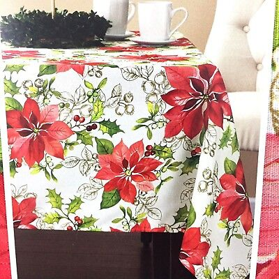 Traditional Rectangular Green - Christmas Poinsettia Fabric Tablecloth Rectangle 52 x 70 Red Green Holly Berries