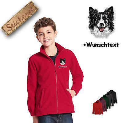 Collie Embroidered Fleece - Children - Fleece Jacket Embroidered Dog Border Collie M1 + Desired Text
