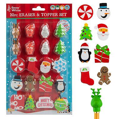 Borrador & Lápiz de Topper Juego - Paquete 20 - Navidad Diseño...