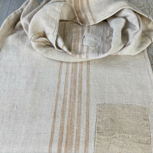 Grain Sack Vintage  stripes handwoven European soft homespun hemp textile