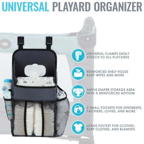 L.A. Baby Universal Playard Diaper Caddy and Nursery Organizer - Gray