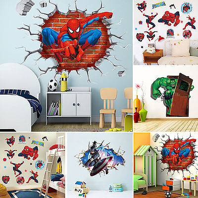 Super Hero  Avengers Mural Vinyl Wall Decal Stickers Kids Nursery Room Decor DIY (Avengers Decor)