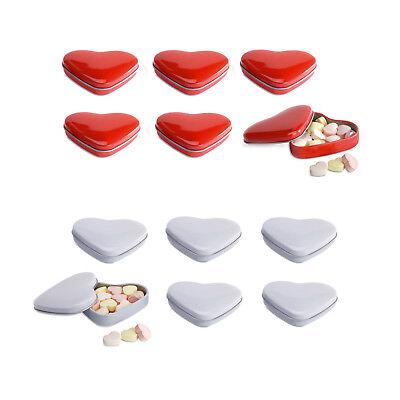 6 herzförmig Blechbüchsen mit Herz geformt Süßigkeiten Hochzeit begünstigt. rot ()