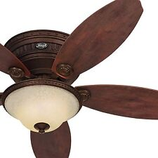 52 Hunter Low Profile Formal Tuscan Gold Ceiling Fan w/ Amber Scavo Glass Light