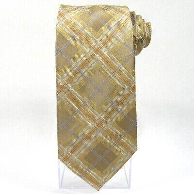 FERUCCI Mens Tie - Diamond/Tartan Plaid - 100% Silk Necktie - Latte/Tan Diamond Mens Tie