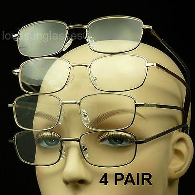 4 PAIR LOT SPRING HINGE READING GLASSES LENS STRENGTH MEN WOMEN PACK POWER