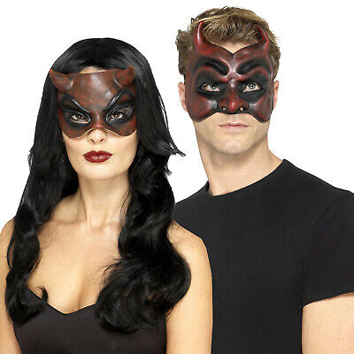 Smiffys Herren Damen Maskerade Devil Gesichtsmaske Hupe Halloween - Damen Maskerade Kostüme