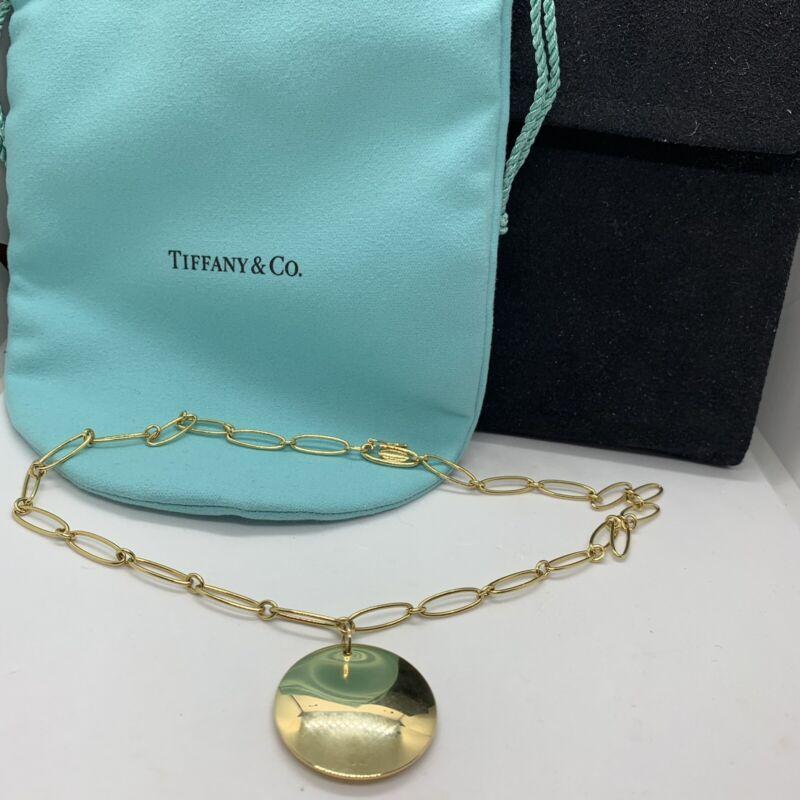 "Tiffany & Co Elsa Peretti 18k yellow gold link chain round disc pendant 16.5"""