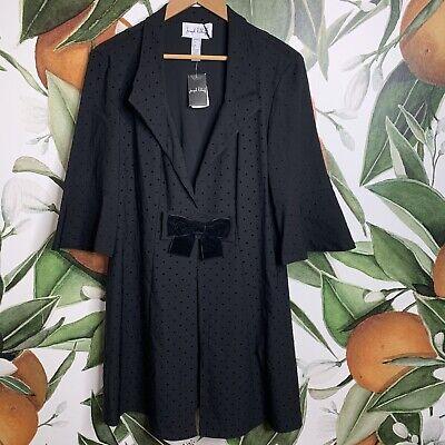 Joseph Ribkoff Size 14 Polka Dot Black 3/4 Sleeves Bow Jacket New
