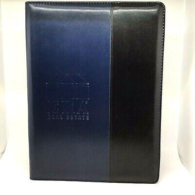 Leather Portfolio Era Real Estate Black And Blue Notepad Document Holder Wpen