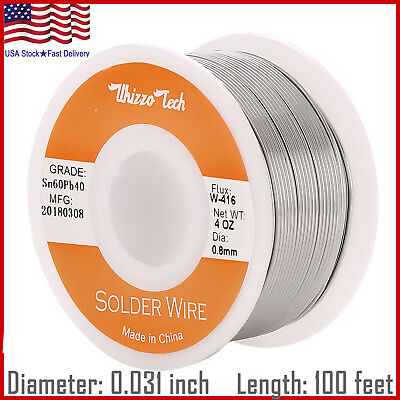 60-40 Tin Lead Rosin Core Solder Wire Soldering Sn60 Pb40 Flux .0310.8mm 4oz
