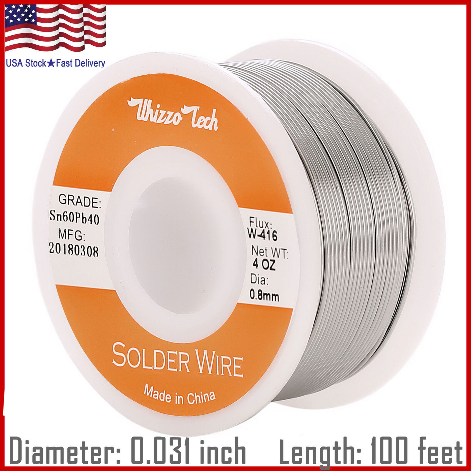 60-40 Tin Lead Rosin Core Solder Wire Soldering Sn60 Pb40 Flux .031″/0.8mm 4oz Business & Industrial