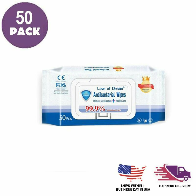WET WIPES 50 White Antibacterial Non Alcohol Scent Free Protective Safety Gear