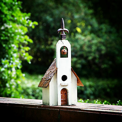 "Glitzhome 16"" Wooden Rustic Church Bird House Nest Hanging Outdoor Garden Decor"